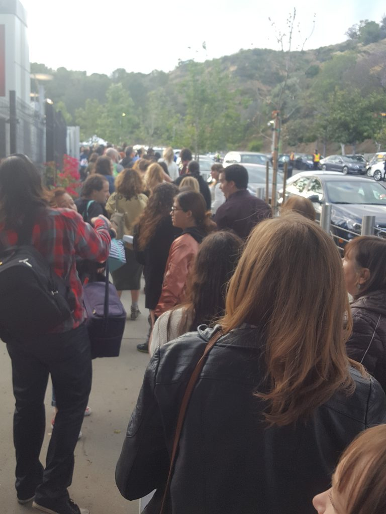 Hollywood Bowl metal detector line at the top of the hill.