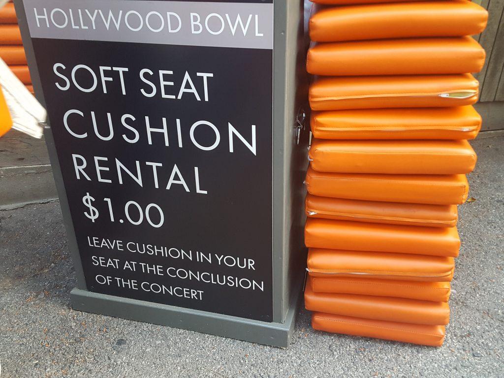 Hollywood Bowl seat cushion rental
