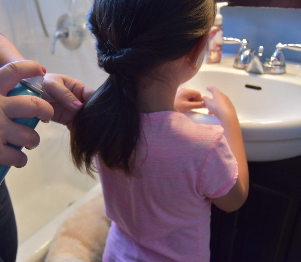 Hairspray on ponytail