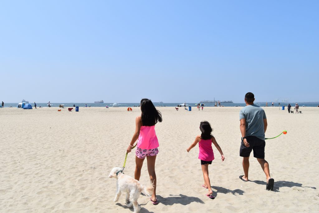SoCal Day Trip Rosie's Dog Beach-Family walking with dog