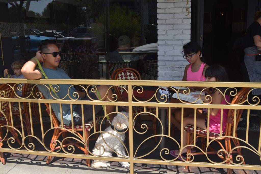 SoCal Day Trip Rosie's Dog Beach-Family ordering at Open Sesame Restaurant