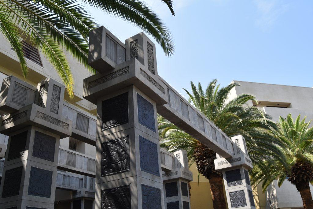 Cancun Vegas Resort big stone columns at lobby entrance