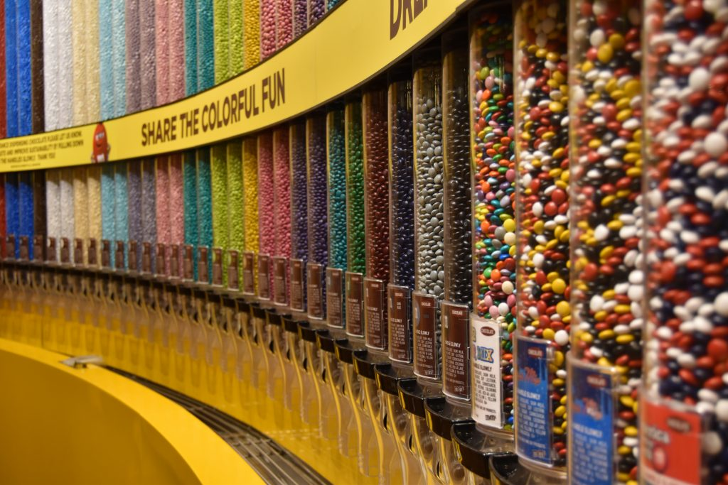 M&M candy wall