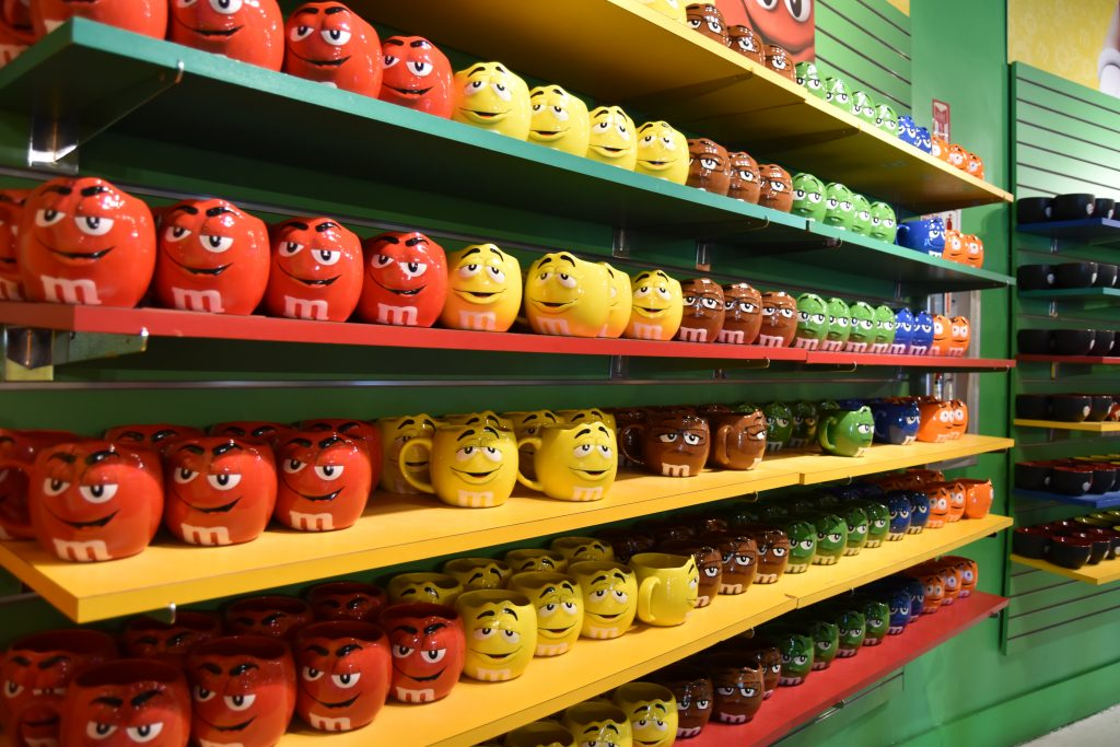 Wall of M&M cups