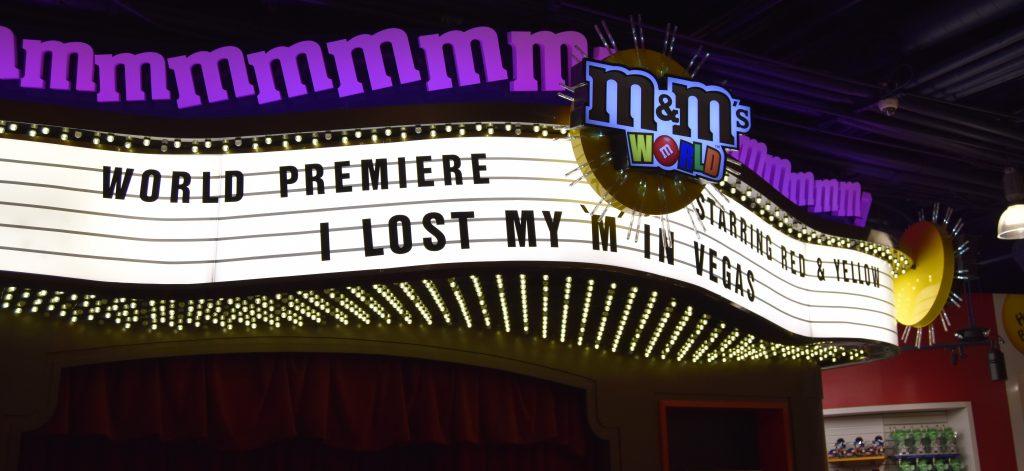 M&M 3D movie sign