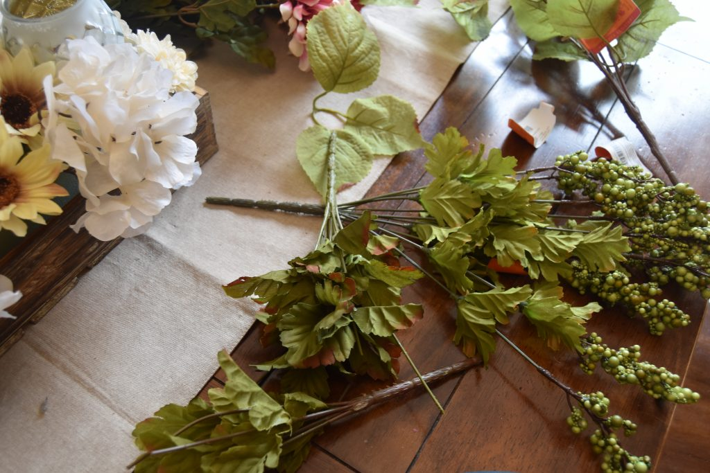 Easy DIY Fall Centerpiece-Leftover leaf scraps and green berries