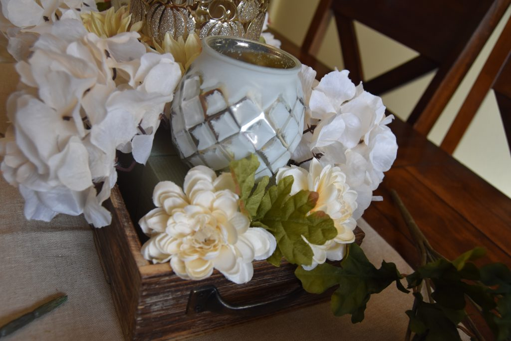 Easy DIY Fall Centerpiece-Picture of exposed floral foam between flowers