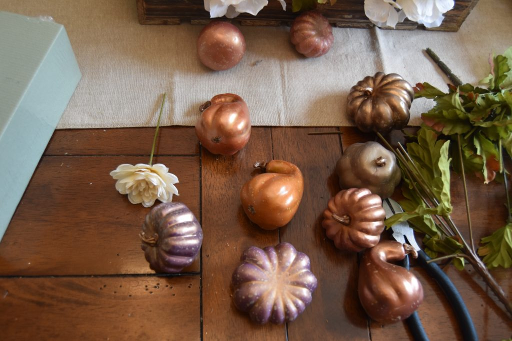 Easy DIY Fall Centerpiece-Decorative pumpkins and gourds