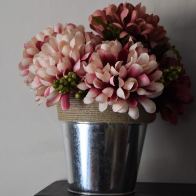 Simple Fall Home Decor-Completed floral pot