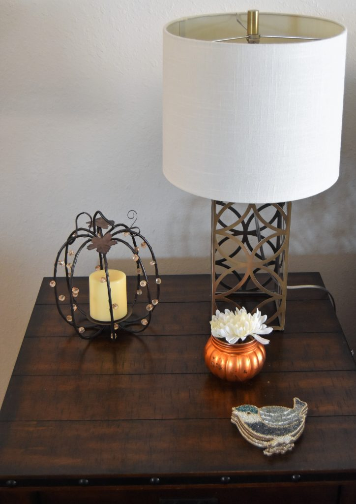 Simple Fall Home Decor-Candle holder with flower and bird coaster