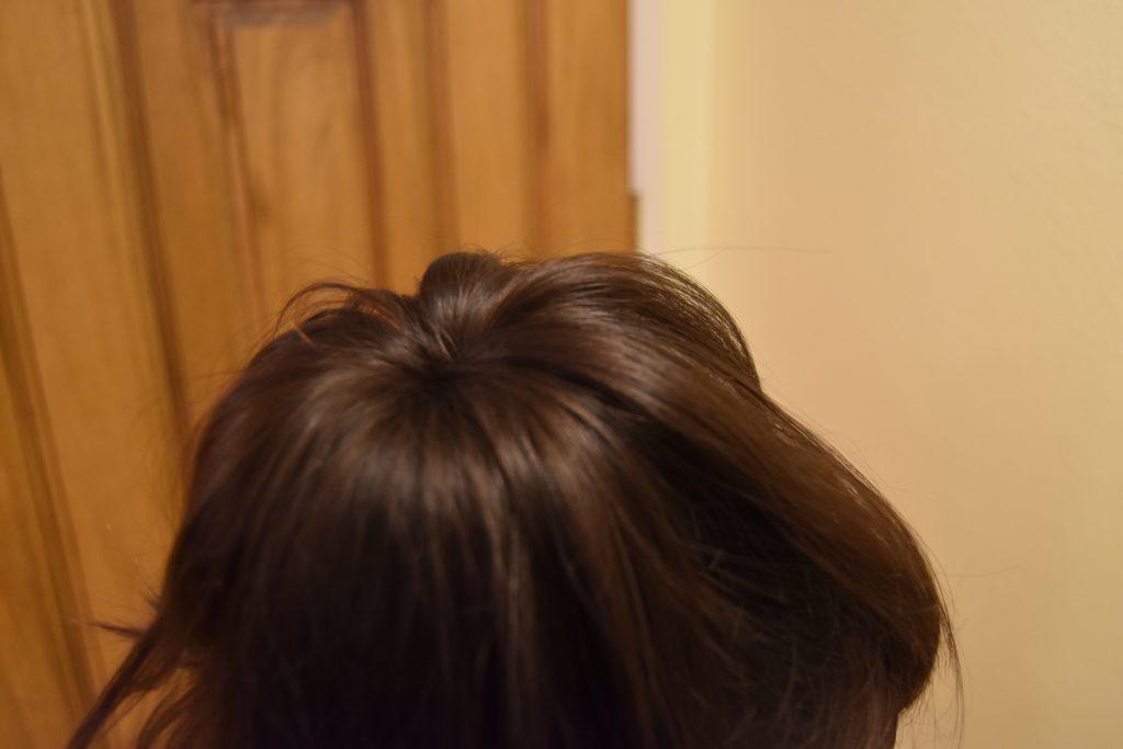 Fall-Inspired Crazy Hair Day Style-Spread hair around bun donut