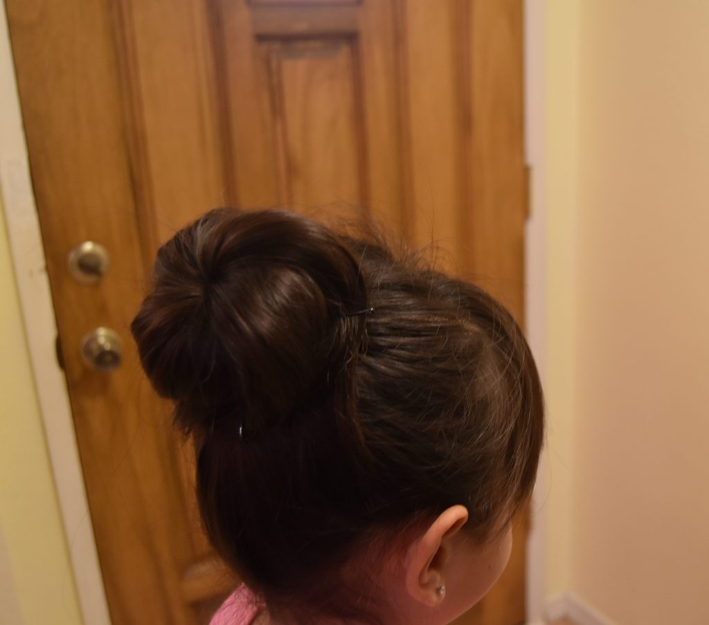 Fall-Inspired Crazy Hair Day Style-Completed bun