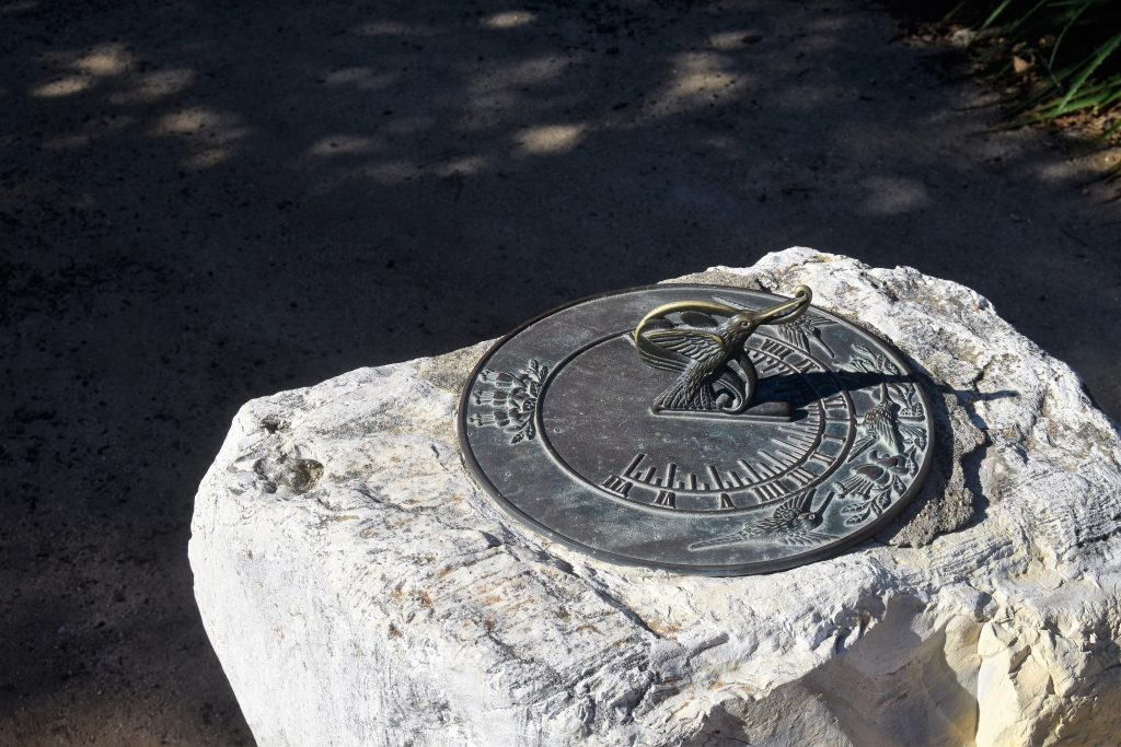 The Great Pumpkin Hunt: A sundial in the garden