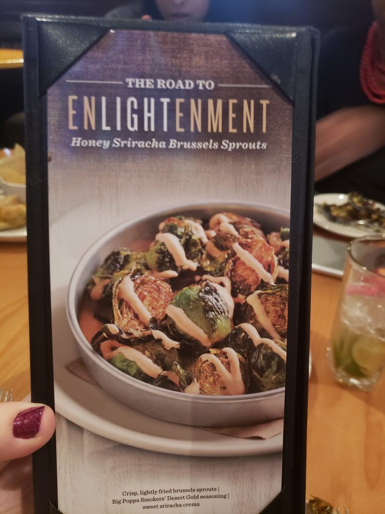 BJ's Enlightened Menu: brussel sprouts sriracha ad picture