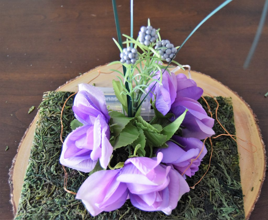 Tall floral stem added in back of flower circle-Fairy Cloche Centerpiece DIY