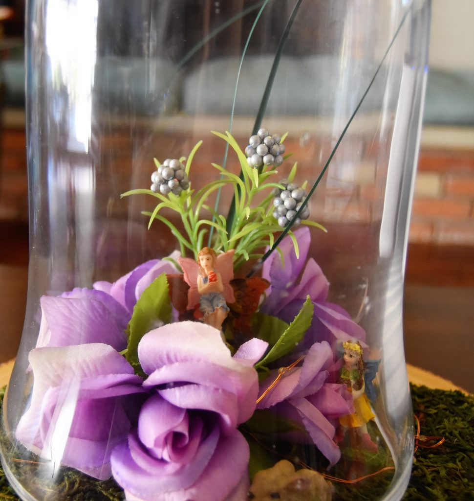 Forest animals and more fairies were added-Fairy Cloche Centerpiece DIY