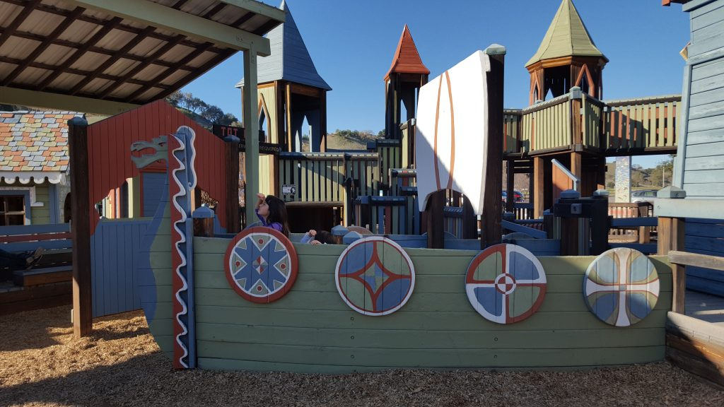 Kids pretending to be out at sea-Instagram Worthy Photo Opps In Solvang