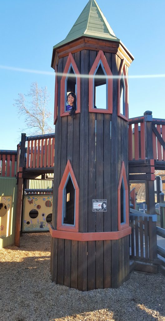 Girl at top of play structure tower-Instagram Worthy Photo Opps In Solvang