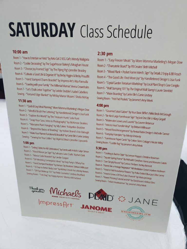 Saturday Class Schedule- California Pinners Conference and Expo: Thoughts and Tips