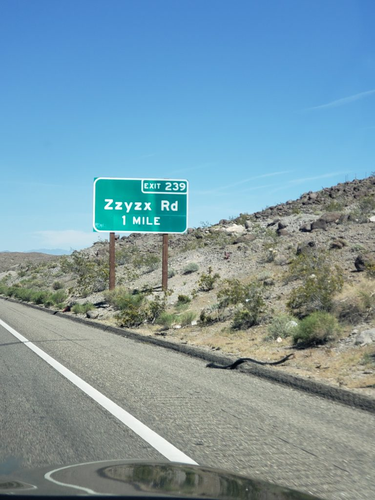 Zzyzx Road sign