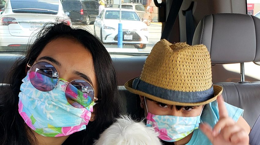 Girls wearing masks during California social distancing