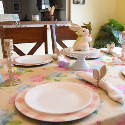 Easter Floral and Plaid Tablescape DIY
