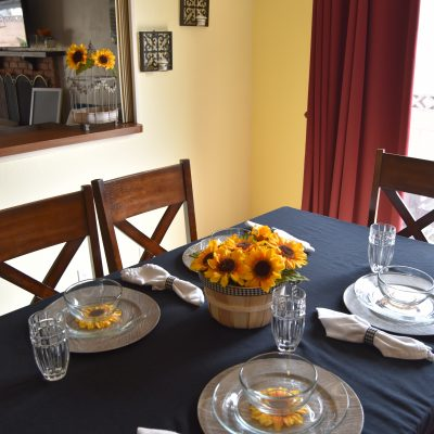 Sunflower and Buffalo Plaid Tablescape