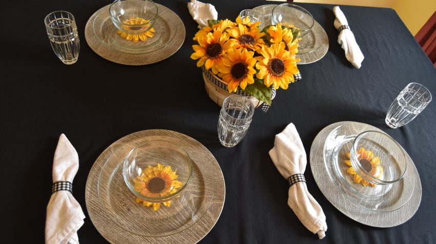 Fall Sunflowers and Plaid Tablescape